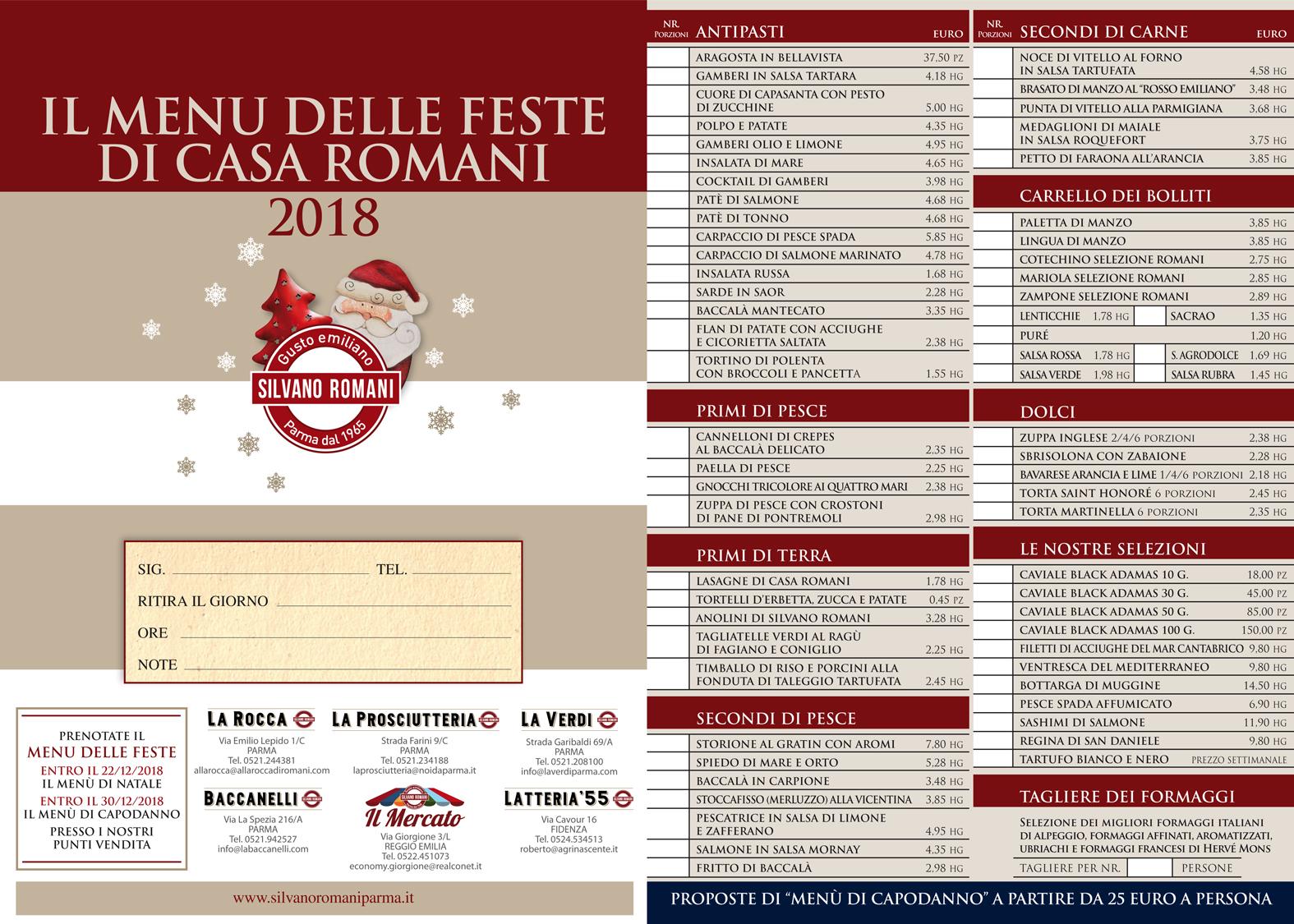 Menu Di Natale Romano.Il Menu Delle Feste 2018 Natale E Capodanno A Casa Romani